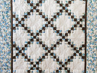 Beautiful Blue Floral, Brown and Cream Irish Chain Quilt