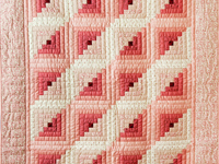 Precious Rose, Pink & Cream Log Cabin Quilt
