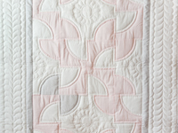 Indiana Amish Pink, Gray and White Solomon's Puzzle Crib Quilt