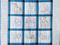 Blue, Gray and White Hand Embroidered Noah's Ark Crib Quilt
