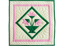 Indiana Amish Pink and Cream Tulips Wall Hanging
