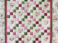 Roses, Pink and Green Hearts and Nine Patch Quilt