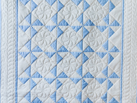 Beautiful Blue & Natural Pinwheel Crib Quilt