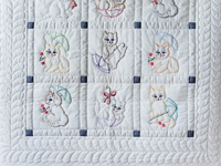 Classy Cats Embroidered Quilt