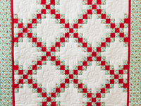 Aqua, Red and Cream Irish Chain Quilt