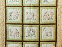 Beautiful Embroidered Horses Crib Quilt