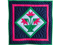 Indiana Amish Navy and Magenta Tulips Wall Hanging