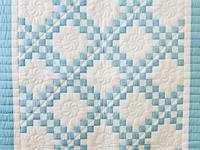 Beautiful Blue and White Irish Chain Crib Quilt