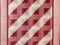 Gorgeous Red and Cream Log Cabin Quilt