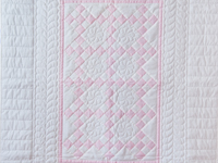 Princess Pink and White Nine Patch Crib Quilt
