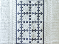 Pristine Gray and White Nine Patch Crib Quilt