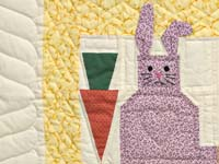 Yellow and Multicolor Floppy Eared Bunnies Crib Quilt