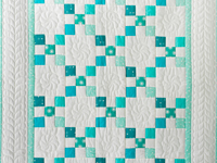 Aqua and Ivory Nine Patch Quilt