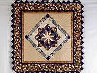 Navy and Brown Star Bloom Wall Hanging