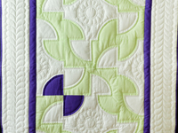 Indiana Amish Purple, Green and White Solomon's Puzzle Crib Quilt