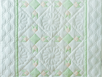 Indiana Amish Pastel and White Rabbit's Paw Crib Quilt