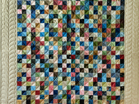 Multi and Tan Hit or Miss Quilt