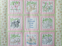 Pink and Pastel Hand Embroidered Noah's Ark Crib Quilt