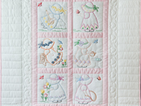 Soft Pink and White Embroidered Sunbonnet Sue Crib Quilt