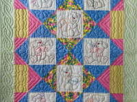 Hand Embroidered Teddy Bear Crib Quilt