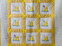 Yellow and White Lucky Ducks Crib Quilt