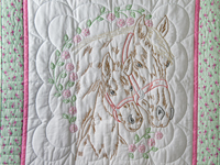 Embroidered Horses and Flowers Quilt