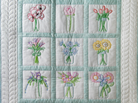 Hand Embroidered Flower Bouquet Quilt