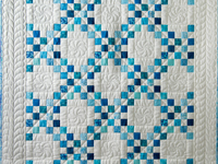 Aqua Blue and White Irish Chain Quilt