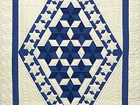 Indiana Amish Blue and Cream Crowned Star Wall Hanging