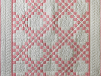 Rose and Natural Irish Chain Quilt