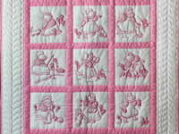 Princess Pink and White Hand Embroidered Crib Quilt