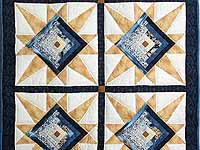 Navy and Gold Kalona Log Cabin Star Crib Quilt