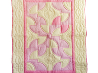Indiana Amish Pink and Cream Solomon's Puzzle Crib Quilt