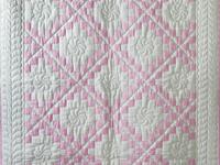 Petal Pink and White Irish Chain Quilt