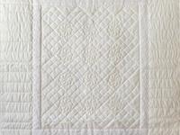 Natural, Cream and Lace Nine Patch Crib Quilt
