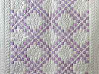 Thistle Lavender and White Irish Chain Quilt