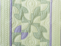 Indiana Amish Soft Lavender, Green and Cream Solomon's Puzzle Crib Quilt