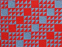 Indiana Amish Blue and Red Ocean Waves Variation Quilt