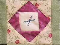 Miniature Patchwork Diamonds with Scissors Quilt