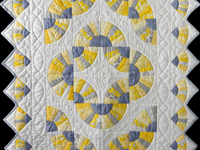 Gray, Yellow and White Grandmother's Fans Crib Quilt