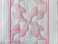 Indiana Amish Princess Pink and White Solomon's Puzzle Crib Quilt
