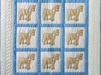 Hand Embroidered Ponies Crib Quilt