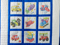 Hand Embroidered Transportation Crib Quilt