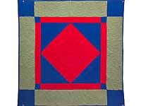Indiana Amish Red Blue and Sage Center Diamond Wall Hanging