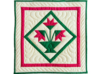 Indiana Amish Raspberry and Cream Tulips Wall Hanging