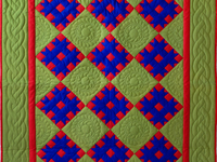 Indiana Amish Green, Blue and Red Susan's Quilt