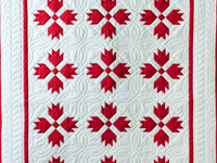Brilliant Red and White Bear's Paw Quilt