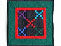 Mini Green and Red Double Nine Patch Quilt