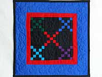 Mini Blue and Red Double Nine Patch Quilt