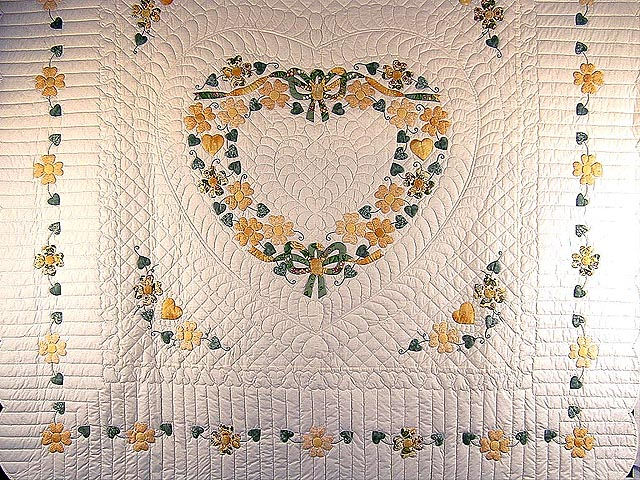 Yellow and Green Hearts Bouquet Quilt Photo 3